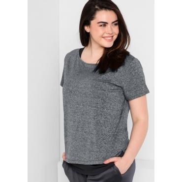 Shirt und Top im Set aus Funktionsmaterial, grau meliert, Gr.44-58