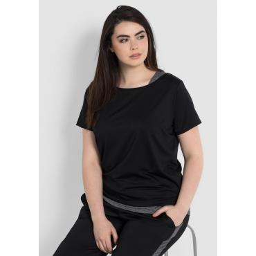 Shirt und Top im Set aus Funktionsmaterial, schwarz, Gr.44-58