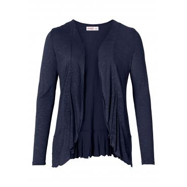 Shirtjacke in verschlussloser Form mit Volants, marine, Gr.40/42-56/58