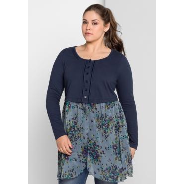 Shirtjacke mit angesetztem Unterteil, dunkelblau, Gr.40/42-56/58