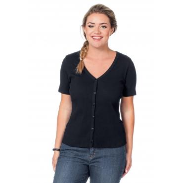 Shirtjacke mit Knopfleiste, schwarz, Gr.40/42-56/58