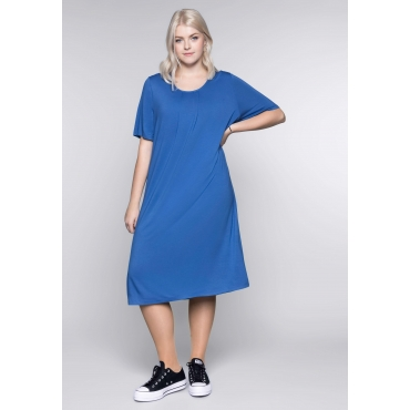 Shirtkleid in A-Linie mit rundem Ausschnitt, azurblau, Gr.44-58