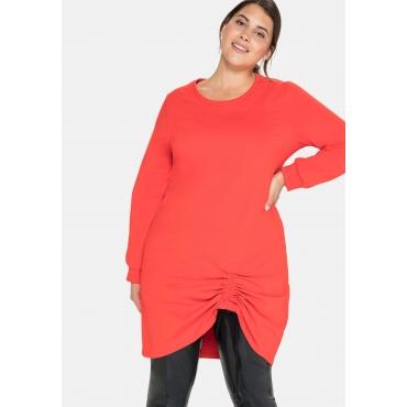Shirtkleid in Oversized-Form mit seitlicher Raffung, feuerrot, Gr.40-58