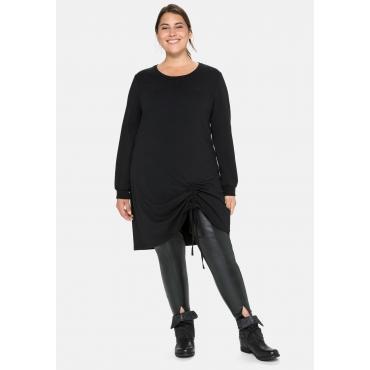 Shirtkleid in Oversized-Form mit seitlicher Raffung, schwarz, Gr.40-58
