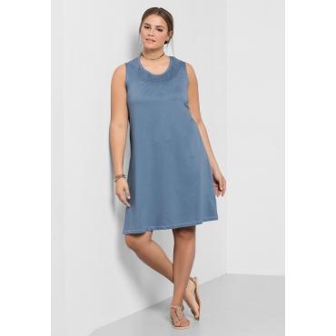 Shirtkleid mit Smok-Einsatz, blau, Gr.40-58
