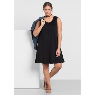 Shirtkleid mit Smok-Einsatz, schwarz, Gr.40-58