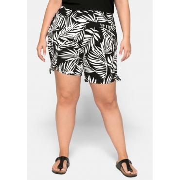 Shorts mit seitlichen Raffungen und Smokbund, schwarz-weiß, Gr.44-58