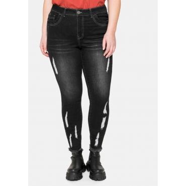 Skinny Ankle-Jeans mit Destroyed- und Used-Effekten, black used Denim, Gr.40-58