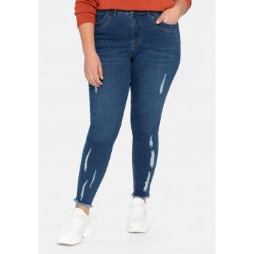 Skinny Ankle-Jeans mit Destroyed- und Used-Effekten, blue used Denim, Gr.40-58