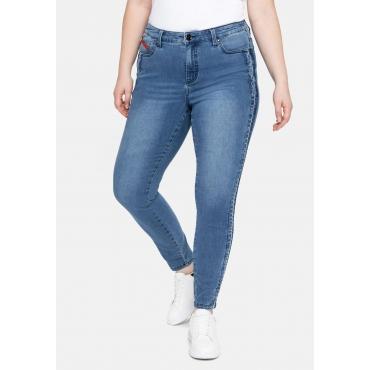 Skinny Ankle Jeans  mit REPREVE® Polyesterfasern, blue used Denim, Gr.40-58