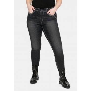 Skinny Jeans mit Crinkle-Effekt und bestickten Taschen, black Denim, Gr.40-58