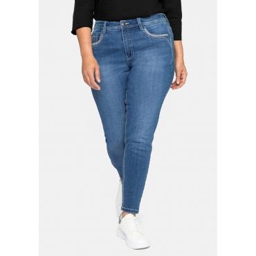 Skinny Jeans mit Crinkle-Effekt und bestickten Taschen, blue Denim, Gr.40-58