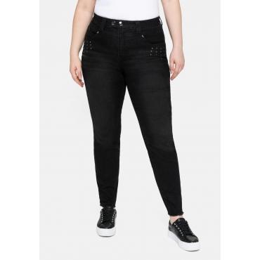 Skinny Jeans mit Fransensaum und Ziernieten, black Denim, Gr.40-58