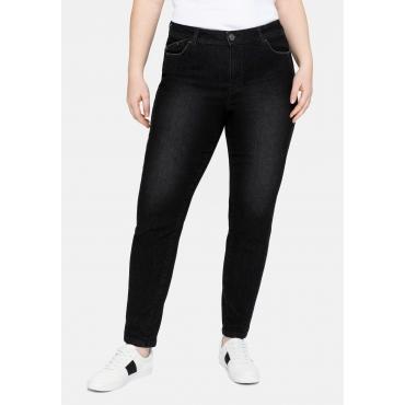Skinny Jeans mit vorverlegter Teilungsnaht, black Denim, Gr.40-58