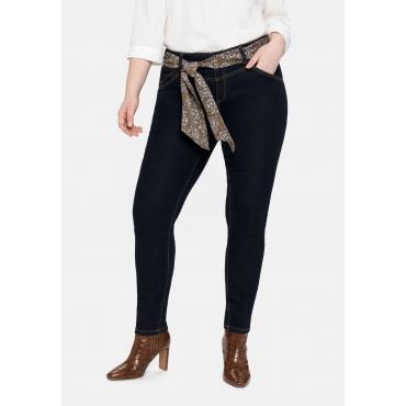 Skinny Jeans VERENA mit Tuchgürtel, blue black Denim, Gr.40-58