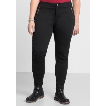 Skinny Jerseyhose in Biker-Optik, schwarz, Gr.44-58