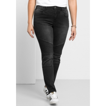 Skinny Power-Stretch-Jeans im Biker-Look, black Denim, Gr.21-116