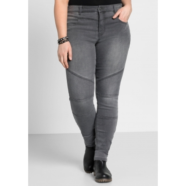 Skinny Power-Stretch-Jeans im Biker-Look, grey Denim, Gr.22-116