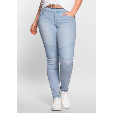 Skinny Power-Stretch-Jeans im Biker-Look, light blue Denim, Gr.21-116