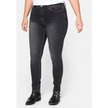 Skinny Power-Stretch-Jeans in 5-Pocket-Form, black Denim, Gr.21-116