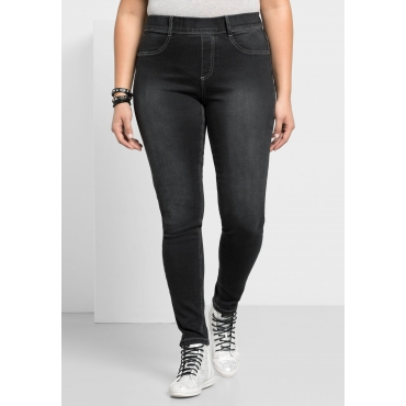 Skinny Power-Stretch-Jeggings mit Schlupfbund, black Denim, Gr.21-116