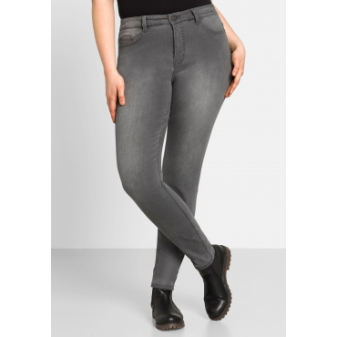 Skinny Power-Stretch-Jeans in 5-Pocket-Form, grey Denim, Gr.22-116