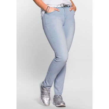Skinny Power-Stretch-Jeans in 5-Pocket-Form, light blue Denim, Gr.21-116