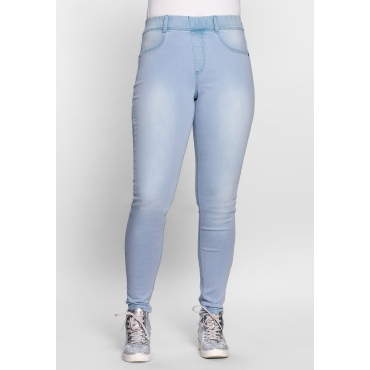 Skinny Power-Stretch-Jeggings mit Schlupfbund, light blue Denim, Gr.21-116