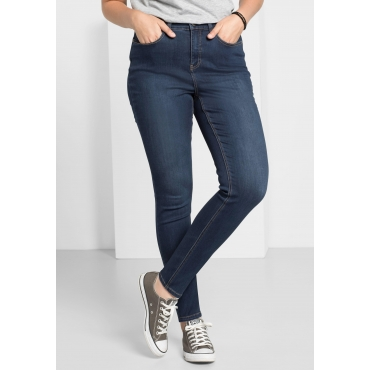 Skinny Power-Stretch-Jeans in Knöchellänge, dark blue Denim, Gr.22-104