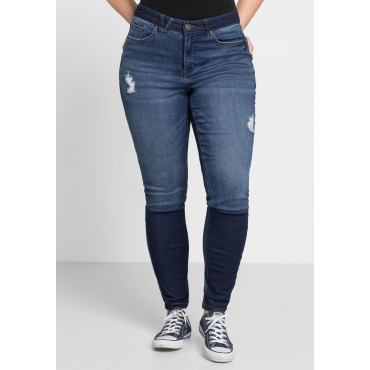 Skinny Power-Stretch-Jeans mit Kontrasteffekten, blue Denim, Gr.44-58