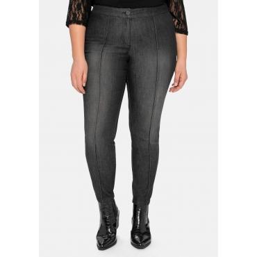 Skinny Power-Stretch-Jeans mit streckenden Biesen, black Denim, Gr.40-58
