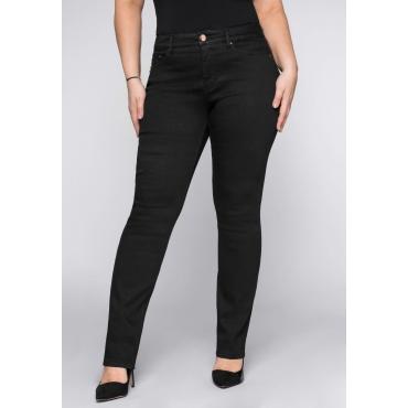 Skinny Stretch-Jeans mit Bodyforming-Effekt, black Denim, Gr.22-104