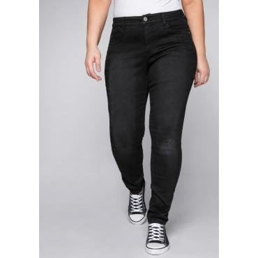 Skinny Stretch-Jeans mit Bodyforming-Effekt, black Denim, Gr.44-58