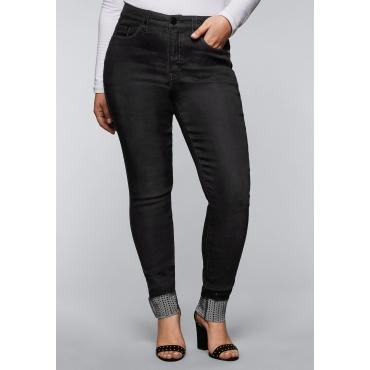 Skinny Stretch-Jeans mit Glitzer-Applikationen, black Denim, Gr.44-58