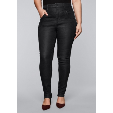 Skinny Stretch-Jeans mit High-Waist-Bund, black Denim, Gr.44-58
