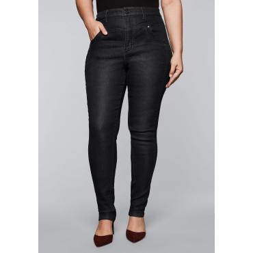 Skinny Stretch-Jeans mit High-Waist-Bund, black Denim, Gr.44-58