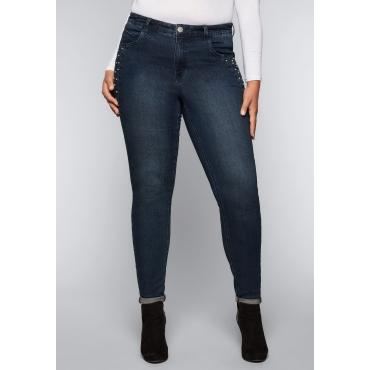 Skinny Stretch-Jeans mit Perlen, dark blue Denim, Gr.44-58
