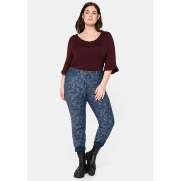Skinny Wende-Jeans, uni und mit Blumendruck, dark blue Denim, Gr.40-58