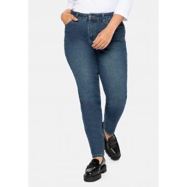Slim Jeans mit 3D-Ornamenten an den Taschen vorn, blue Denim, Gr.40-58