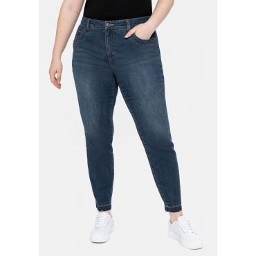 Slim Jeans mit Shaping-Shorts und offenem Saum, dark blue Denim, Gr.40-58