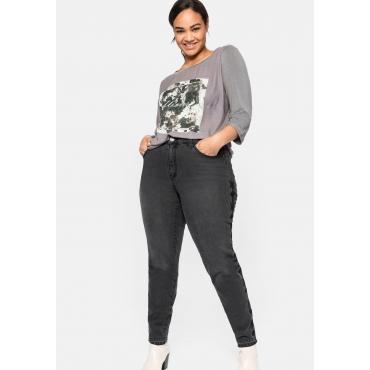 Slim Jeans mit Stickereien seitlich am Bein, black used Denim, Gr.40-58