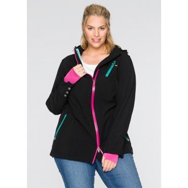 Softshell-Jacke mit Kontrast-Elementen, schwarz, Gr.40-54