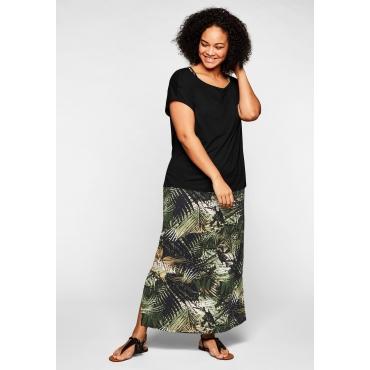 Strandkleid und Strandshirt im Set, elastische Qualität, schwarz+schwarz bedruckt, Gr.44-58