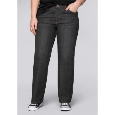 Stretch-Jeans ELI mit extra weitem Beinverlauf, black Denim, Gr.44-58
