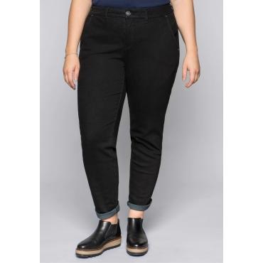 Stretch-Jeans in Chinoform mit Taschen, black Denim, Gr.44-58