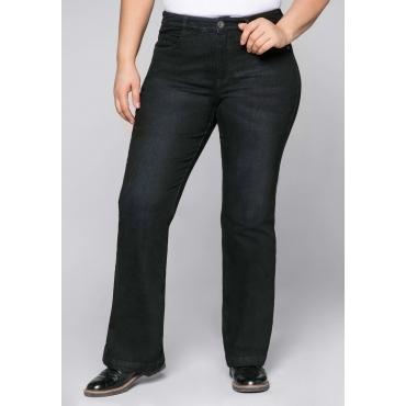 Stretch-Jeans mit ausgestellter Saumweite, black Denim, Gr.22-104
