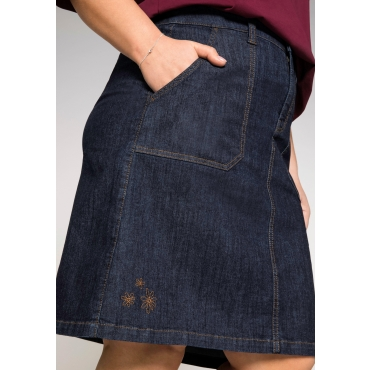 Stretch-Jeansrock in A-Linie mit Blütenstickerei, dark blue Denim, Gr.44-58