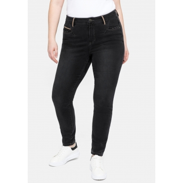 Super Skinny Jeans in Power-Stretch-Qualität, black Denim, Gr.40-58