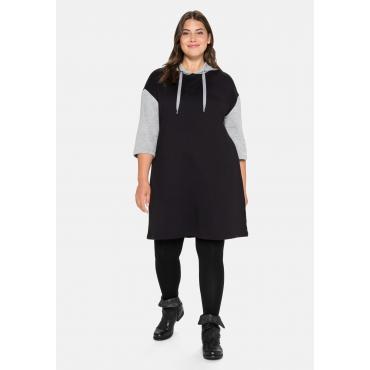 Sweatkleid mit Kapuze und Kontrastdetails, schwarz, Gr.40-58