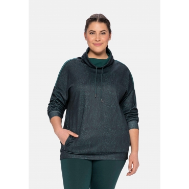 Sweatshirt aus Funktionsmaterial, mit Animaldruck, tiefgrün gemustert, Gr.40/42-56/58